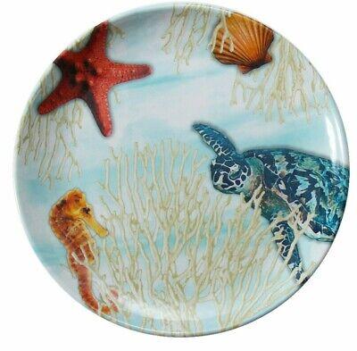 Sealife Dinner Plate Melamine Dinnerware 9 Inch Sea Turtle Seahorse BPA Free