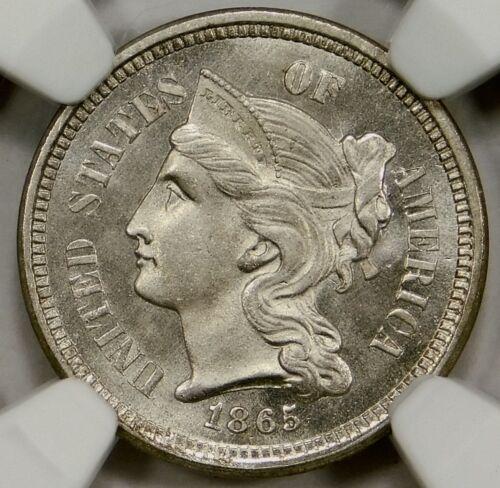 💙❄️NGC MS65 1865  Three Cent Nickel