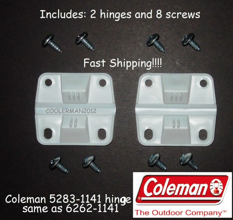COLEMAN COOLER 2 HINGES 8 SCREWS 5283-1141 OR 6262-1141 HINGE SET REPLACEMENT