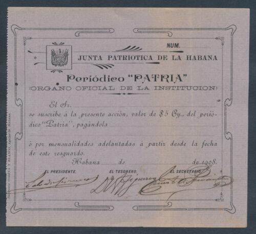 1908 Cuba ~ document signed by Salvador Cisneros Betancourt - President of Cuba