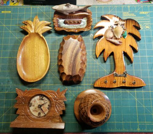 Vintage Lot of Tiki Island Style Home Decor Hawaii Clock Florida Shark Pineapple