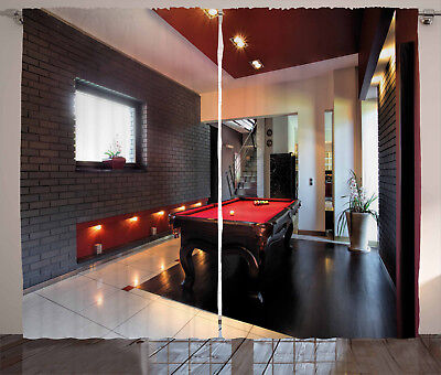 Modern Curtains Stylish Snooker Table Window Drapes 2 Panel