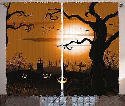 Scary Halloween Window Panels (Halloween Decor Curtains Scary Cemetery Window Drapes 2 Panel Set 108x84)