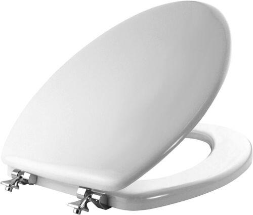 MAYFAIR 1844CP 000 Elongated Toilet Seat White Enameled Wood Chrome Hinges