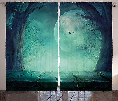 Forest Halloween Window Drapes 2 Panel Set 108x84 Inches (Halloween 2-panel)