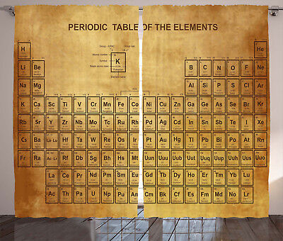 Science Curtains Vintage Chemistry Table Window Drapes 2 Pan