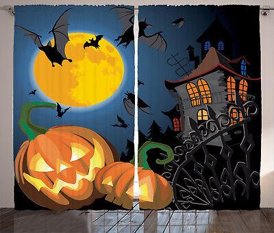 ains Moon Pumpkin Window Drapes 2 Panel Set 108x84 Inches (Halloween 2-panel)
