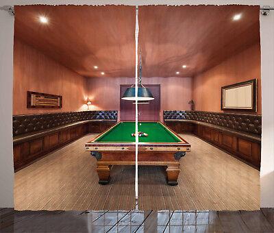 Modern Curtains Pool Table Billiard Window Drapes 2 Panel Se