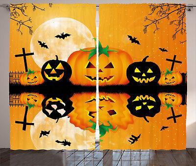 Scary Halloween Window Panels (Halloween Decor Curtains Scary Pumpkin Window Drapes 2 Panel Set 108x84)