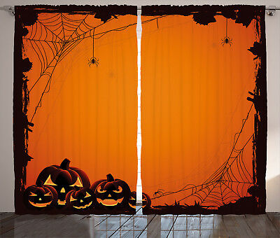 Scary Halloween Window Panels (Orange Curtains Halloween Pumpkin Scary Window Drapes 2 Panel Set 108x90)