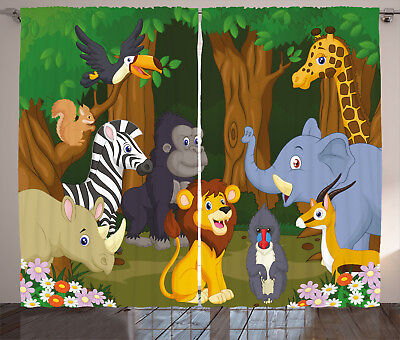Animal Curtains Cartoon Elephant Lion Window Drapes 2 Panel Set 108x84 (Lions Drapes)