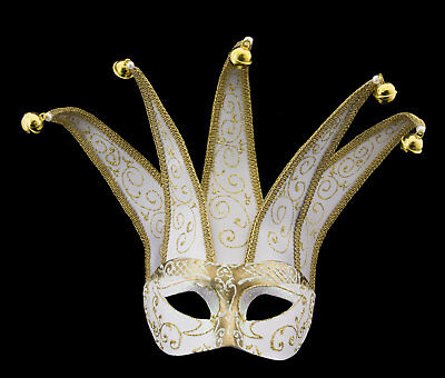 Mask from Venice Colombine Jolly White Golden IN 5 Spikes Paper Mache 129