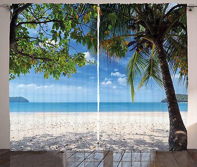 Summer Curtains Tropical Beach Ocean Window Drapes 2 Panel S