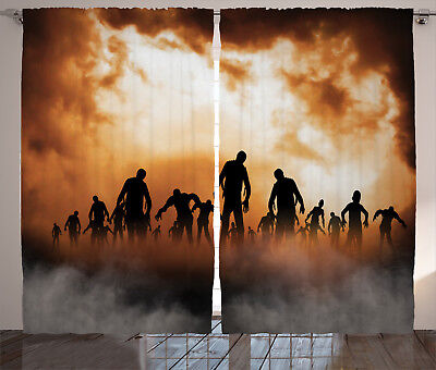 ains Zombies Misty Window Drapes 2 Panel Set 108x84 Inches (Halloween 2-panel)