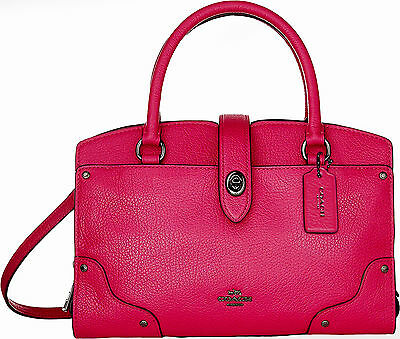 NWT COACH MERCER SATCHEL 24 GRAIN LEATHER CERISE CROSSBODY PURSE $295  #37779