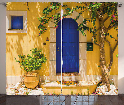 Yellow and Blue Curtains Greek House Window Drapes 2 Panel Set 108x90 Inches (Yellow And Blue Curtains)