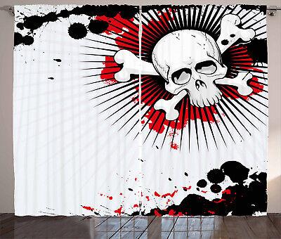 kull Bones Grunge Window Drapes 2 Panel Set 108x63 Inches (Halloween 2-panel)