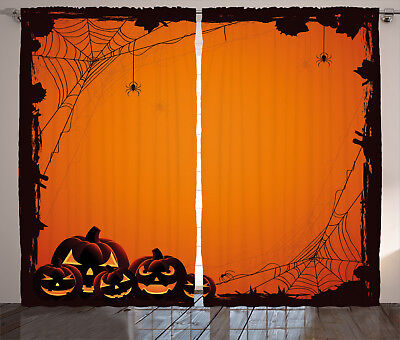 Scary Halloween Window Panels (Orange Curtains Halloween Pumpkin Scary Window Drapes 2 Panel Set 108x84)