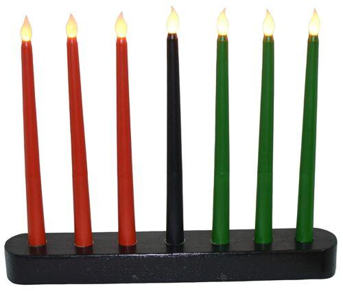 Kwanzaa Kinara - Flameless Battery Powered Electric Candles - Handmade Black