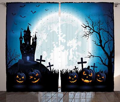 ains Moon Pumpkins Window Drapes 2 Panel Set 108x84 Inches (Halloween 2-panel)