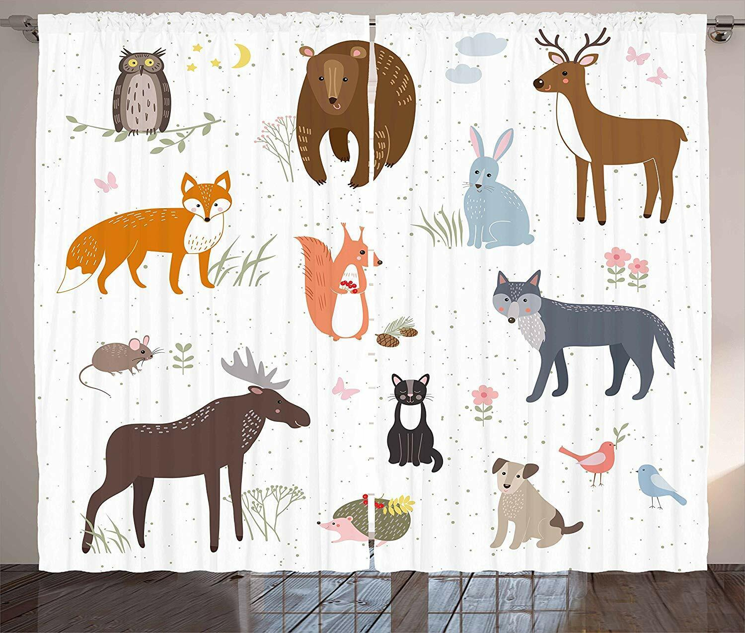 """New!! Ambesonne Children's Room Animal Curtains * 108"""" x 63"""""""