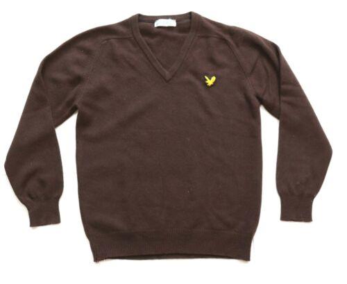 Lyle & Scott Men Sz S Brown Vintage Cashmere Knit Jumper V Neck Unisex 60s Eagle