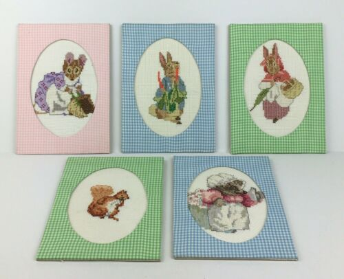 Vintage Beatrix Potter Cross Stitch Needlepoint Matted Wall Art Nursery Children