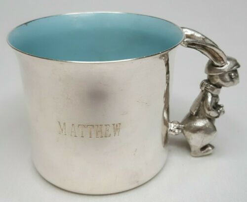 Reed & Barton Silver Plate 865 Blue Enamel Bunny Rabbit Cup Engraved Matthew