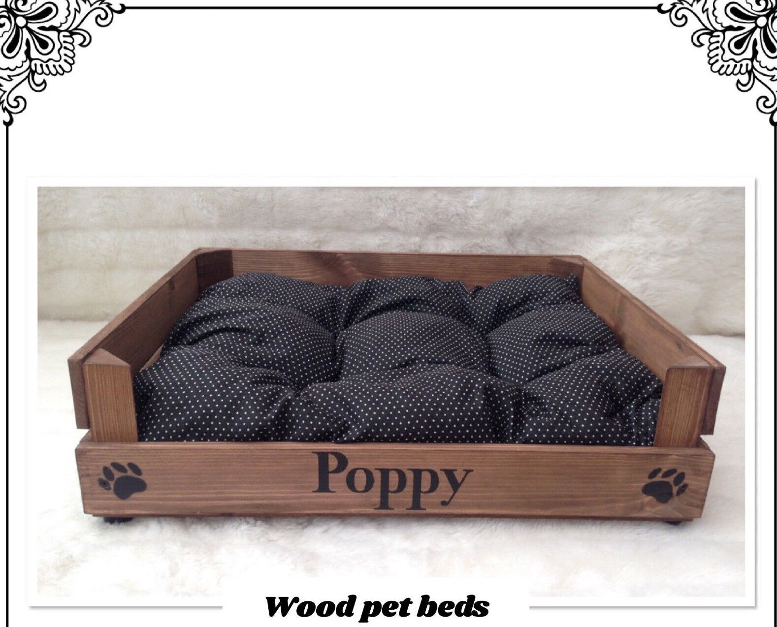 RUSTIC WOOD PET BED PERSONALIZED FOR YOUR PUPPY CAT PUG DOG