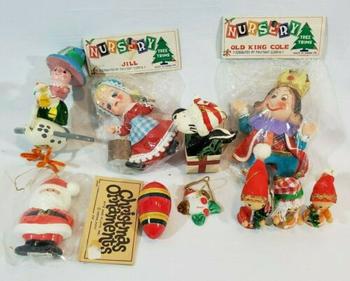 10 Vintage Wood Christmas Ornaments Santa Elves Nursery Rhymes 1 Kurt Adler