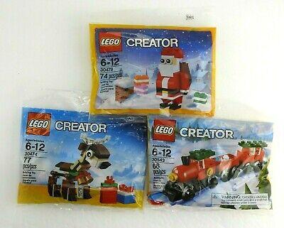 3 New LEGO Christmas Sets Reindeer 30474 Santa 30478 Train 30543