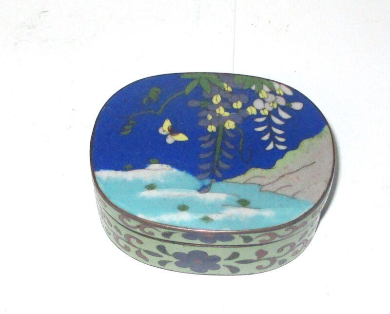 BRONZE JAPANESE CLOISONNE RED ENAMEL FLORAL TREE BUTTERFLY JAR BOX