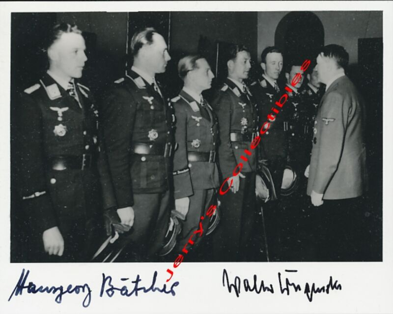 Hansgeorg Batcher-Walter Krupinski double signed award photo. Luftwaffe Aces.