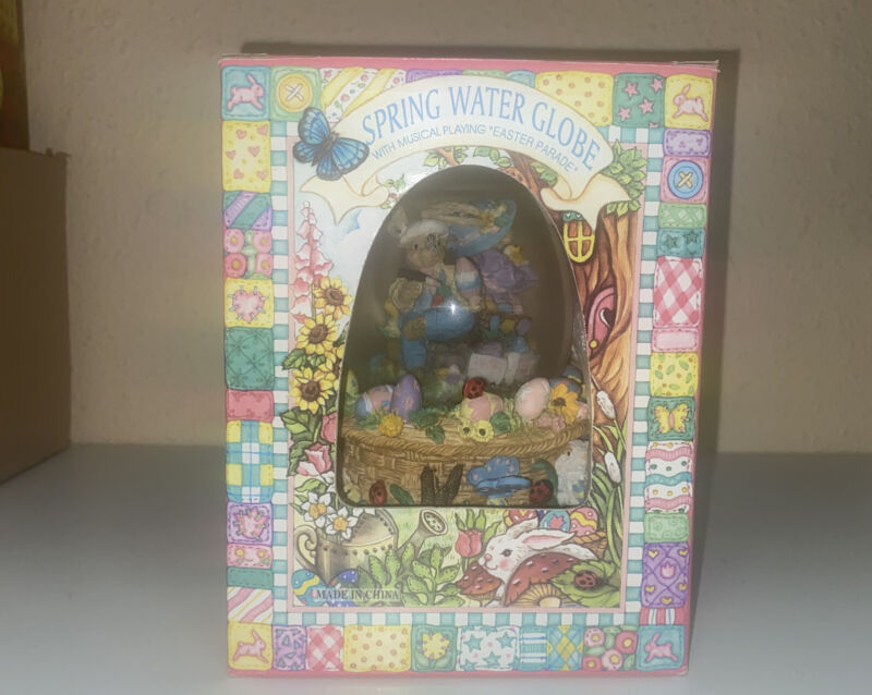 """Easter Spring Water Globe Musical """" Easter Parade"""" Peter Cottontail Egg Shaped"""