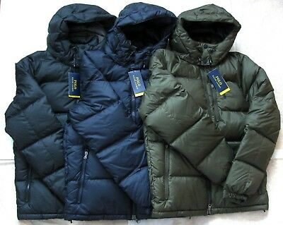 NEW Polo Ralph Lauren Men Ripstop Water Repellent Down Jacket Black Navy Loden