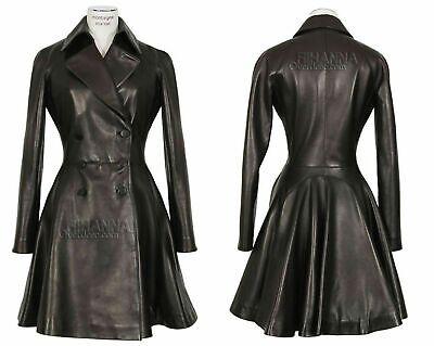 Women's Genuine Leather Lambskin Long Overcoat Trench Coat Button Black -