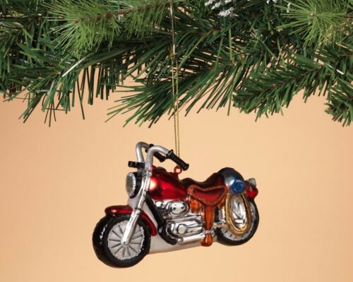 HAND BLOWN GLASS MOTORCYCLE HARLEY DAVIDSON INDIAN HOLIDAY CHRISTMAS ORNAMENT