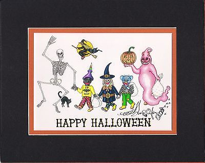 HAPPY HALLOWEEN Jamie Hayes MATTED TO AN 8X10, SIGNED GICLEE, GHOST, SKELETON - Happy Halloween To Print