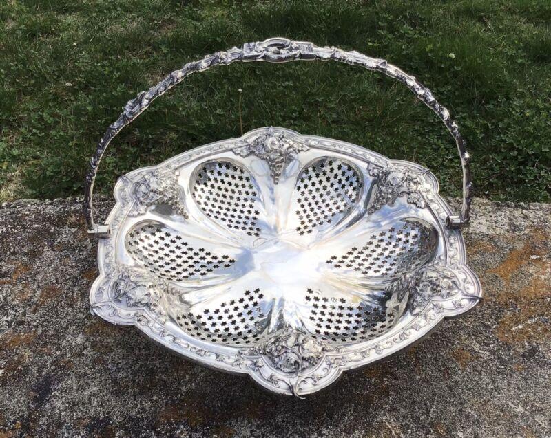 Victorian Handled Silverplate Repousse Bridal Basket Grape Leaf Pierced Bowl Vtg