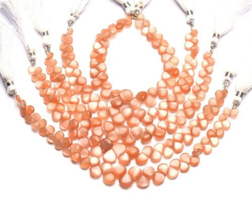 """Natural Gem Peach Moonstone 6 to 9mm Size Smooth Heart Shape Beads 7"""" Strand"""