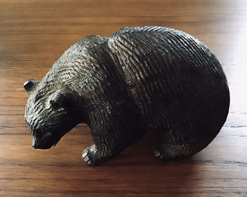 "Beautiful Large Vintage Hand Carved Ironwood Grizzly Bear 8"" Heavy 4+ lbs"