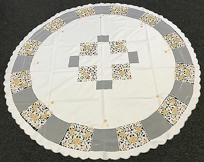 """Embroidered 60"""" Round Floral Cutwork Embroidery Fabric Tablecloth Napkin"""