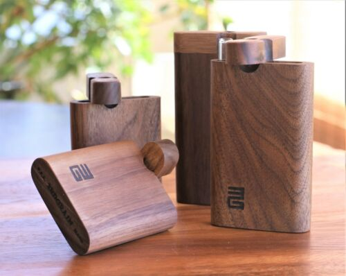 """4"""" Black Walnut Dugout with One Hitter- Perfect Gift-One hit Pipe"""