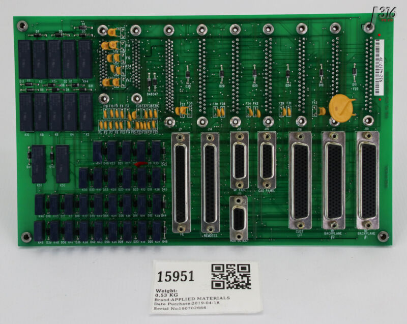 15951 Applied Materials Pcb Assy, Xfer Interconnect Board, 0130-76134 0100-76134