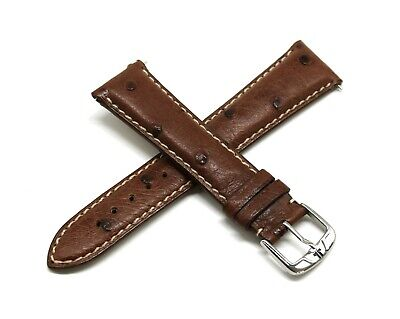 Jacques Lemans 22MM Genuine Ostrich Leather Watch Strap Band DARK BROWN -