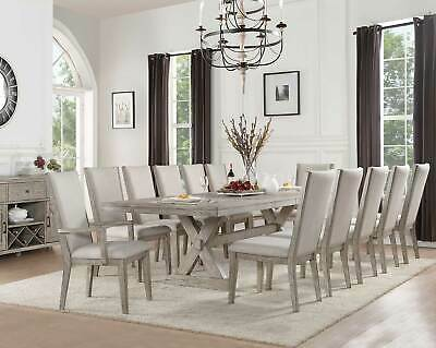 Traditional Gray Oak Dining Room - 13 piece Rectangular Table & Chairs Set -