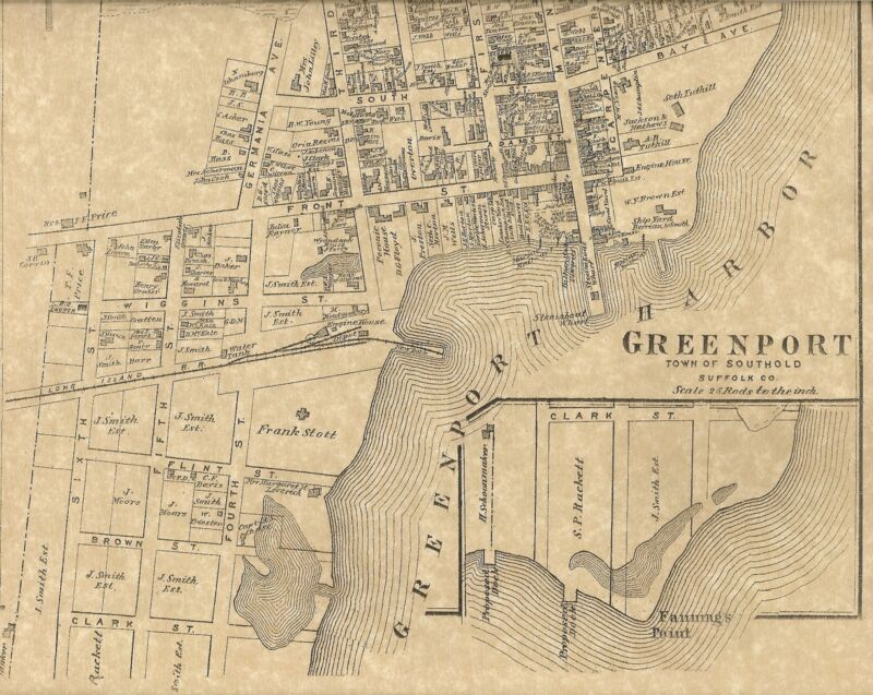 Greenport NY Long Island 1873 Map with Homeowners Names Shown