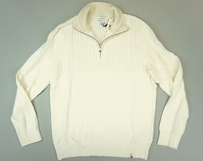 Ribbed Knit Mock Neck Sweater (Calvin Klein Mens Shirt Ivory Ribbed Knit 1/2 Zip Mock Neck Pullover Sweater S)