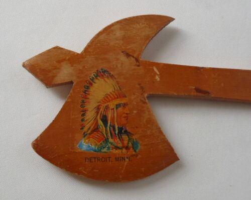 Vintage Souvenir Detroit, Minn. Wood Tomahawk