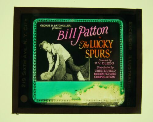 Movie Glass Slide- 1926 Bill Patton in The Lucky Spurs!